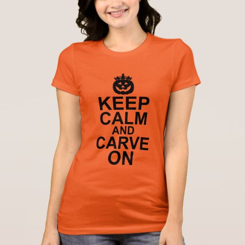 Keep Calm and Carve On Halloween Pumpkin T-Shirt