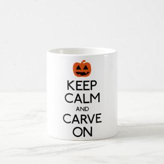 Keep calm and carve on pumpkin coffee mug