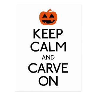 Keep calm and carve on pumpkin postcard