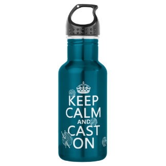 Keep Calm and Cast On - all colors 18oz Water Bottle