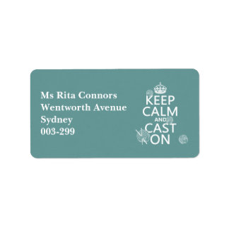 Keep Calm and Cast On - all colors Address Label