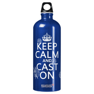 Keep Calm and Cast On - all colors Aluminum Water Bottle