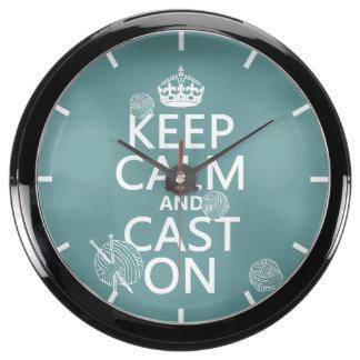 Keep Calm and Cast On - all colors Aquarium Clock