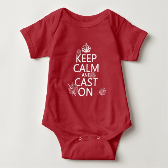 Keep Calm and Cast On - all colors Baby Bodysuit
