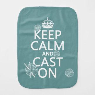 Keep Calm and Cast On - all colors Burp Cloth