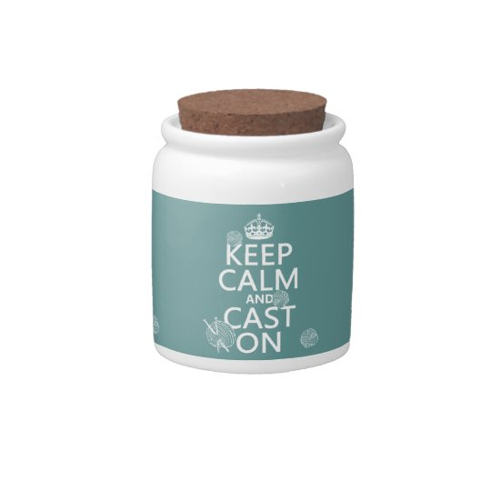 Keep Calm and Cast On - all colors Candy Jar