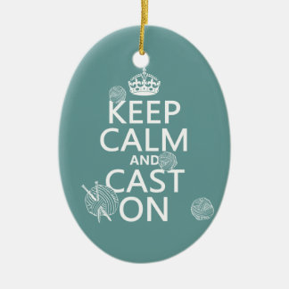 Keep Calm and Cast On - all colors Double-Sided Oval Ceramic Christmas Ornament