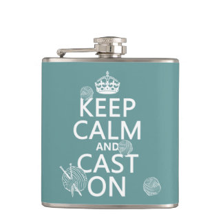 Keep Calm and Cast On - all colors Flasks