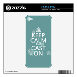 Keep Calm and Cast On - all colors iPhone 4S Skin