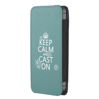 Keep Calm and Cast On - all colors iPhone 5 Pouch