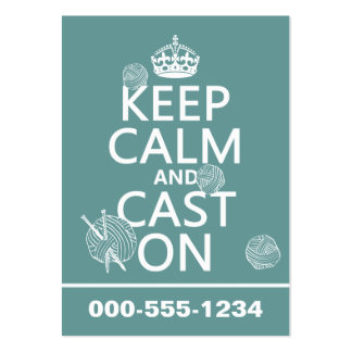 Keep Calm and Cast On - all colors Large Business Card