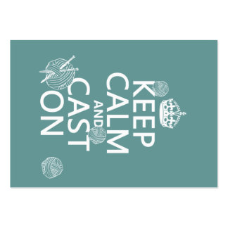 Keep Calm and Cast On - all colors Large Business Cards (Pack Of 100)