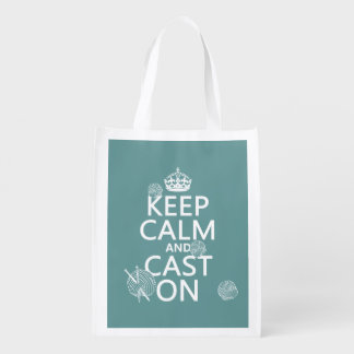 Keep Calm and Cast On - all colors Reusable Grocery Bag