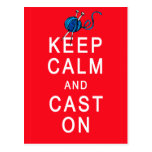 Keep Calm and Cast On Knitting Tshirt or Gift Postcard