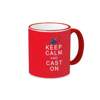 Keep Calm and Cast On Knitting Tshirt or Gift Ringer Mug