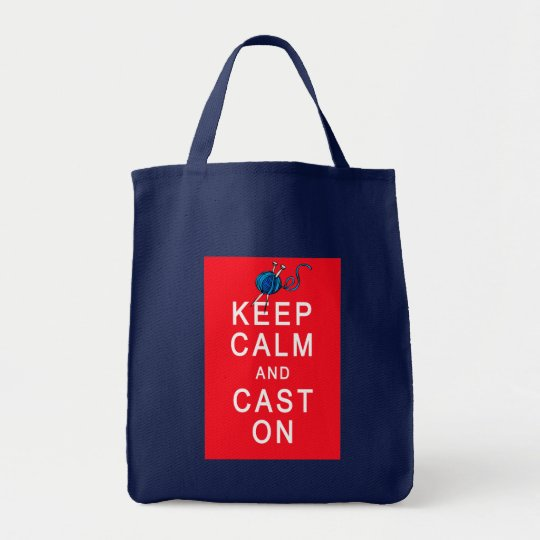 Keep Calm and Cast On Knitting Tshirt or Gift Tote Bag