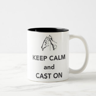 Keep Calm and Cast On Two-Tone Coffee Mug
