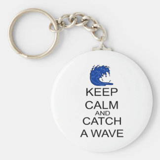 Keep Calm And Catch A Wave Basic Round Button Keychain
