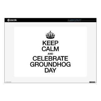"""KEEP CALM AND CELEBRATE GROUNDHOG DAY 15"""" LAPTOP DECALS"""