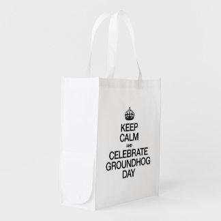 KEEP CALM AND CELEBRATE GROUNDHOG DAY GROCERY BAG