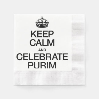 KEEP CALM AND CELEBRATE PURIM COINED COCKTAIL NAPKIN