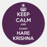 Keep Calm and Chant Hare Krishna Classic Round Sticker