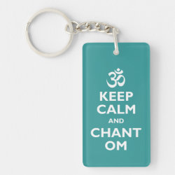 Rectangle Keychain with Keep Calm and Chant Om design