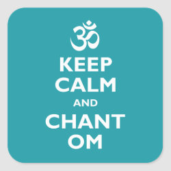 Square Sticker with Keep Calm and Chant Om design