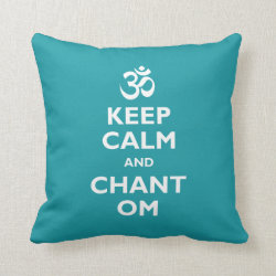Cotton Throw Pillow with Keep Calm and Chant Om design