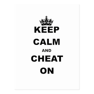 KEEP CALM AND CHEAT ON POSTCARD