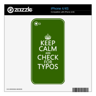 Keep Calm 'and' Check For Typos (in any color) Decal For iPhone 4
