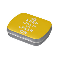 Rectangle Jelly Belly™ Candy Tin with Keep Calm and Cheer On design