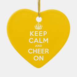 Keep Calm and Cheer On Heart Ornament