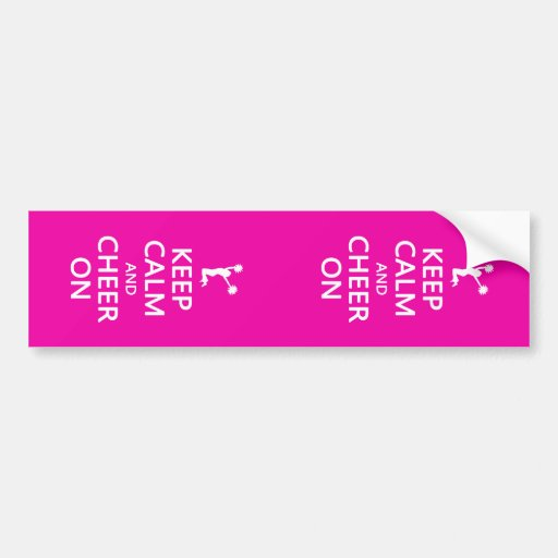 Keep Calm and Cheer On, Cheerleader Pink Bumper Sticker