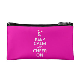 Keep Calm and Cheer On, Cheerleader Pink Cosmetic Bag