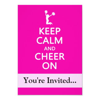Keep Calm and Cheer On, Cheerleader Pink 5x7 Paper Invitation Card
