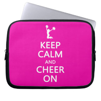 Keep Calm and Cheer On, Cheerleader Pink Laptop Sleeve