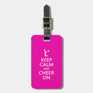 Keep Calm and Cheer On, Cheerleader Pink Tags For Bags
