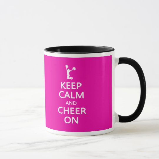 Keep Calm and Cheer On, Cheerleader Pink Mug
