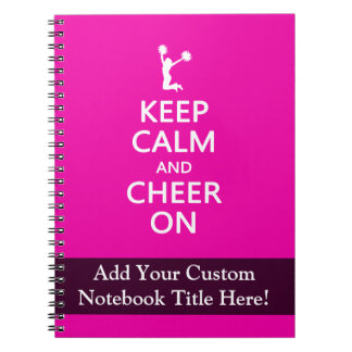 Keep Calm and Cheer On, Cheerleader Pink Notebook