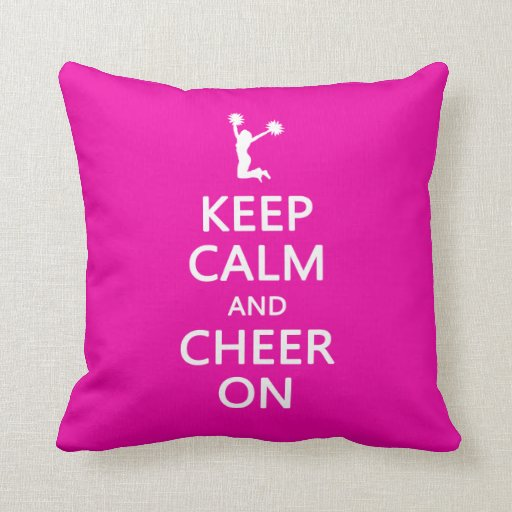 Keep Calm and Cheer On, Cheerleader Pink Pillow