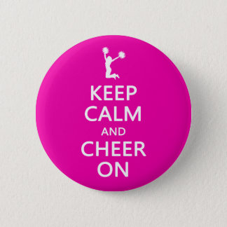 Keep Calm and Cheer On, Cheerleader Pink Pinback Button