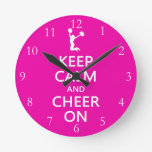 Keep Calm and Cheer On, Cheerleader Pink Round Wall Clock