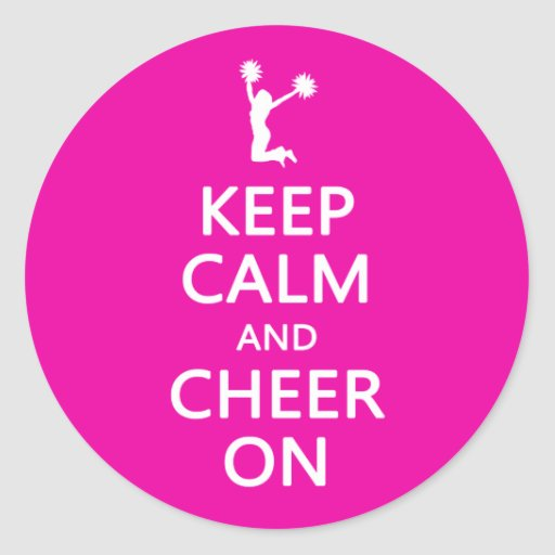 Keep Calm and Cheer On, Cheerleader Pink Stickers