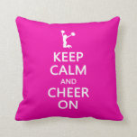 Keep Calm and Cheer On, Cheerleader Pink Throw Pillow