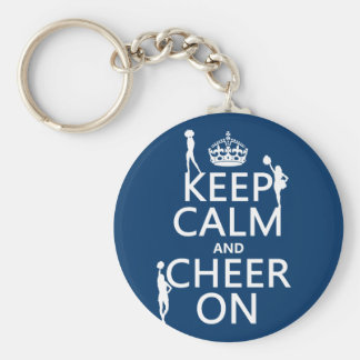 Keep Calm and Cheer On (cheerleaders)(any color) Basic Round Button Keychain