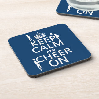 Keep Calm and Cheer On (cheerleaders)(any color) Beverage Coaster