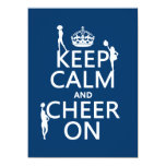 Keep Calm and Cheer On (cheerleaders)(any color) 5.5x7.5 Paper Invitation Card