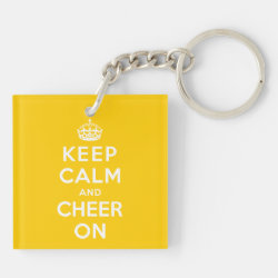 Square Keychain (double-sided) with Keep Calm and Cheer On design