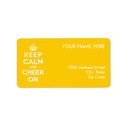 Address Label with Keep Calm and Cheer On design